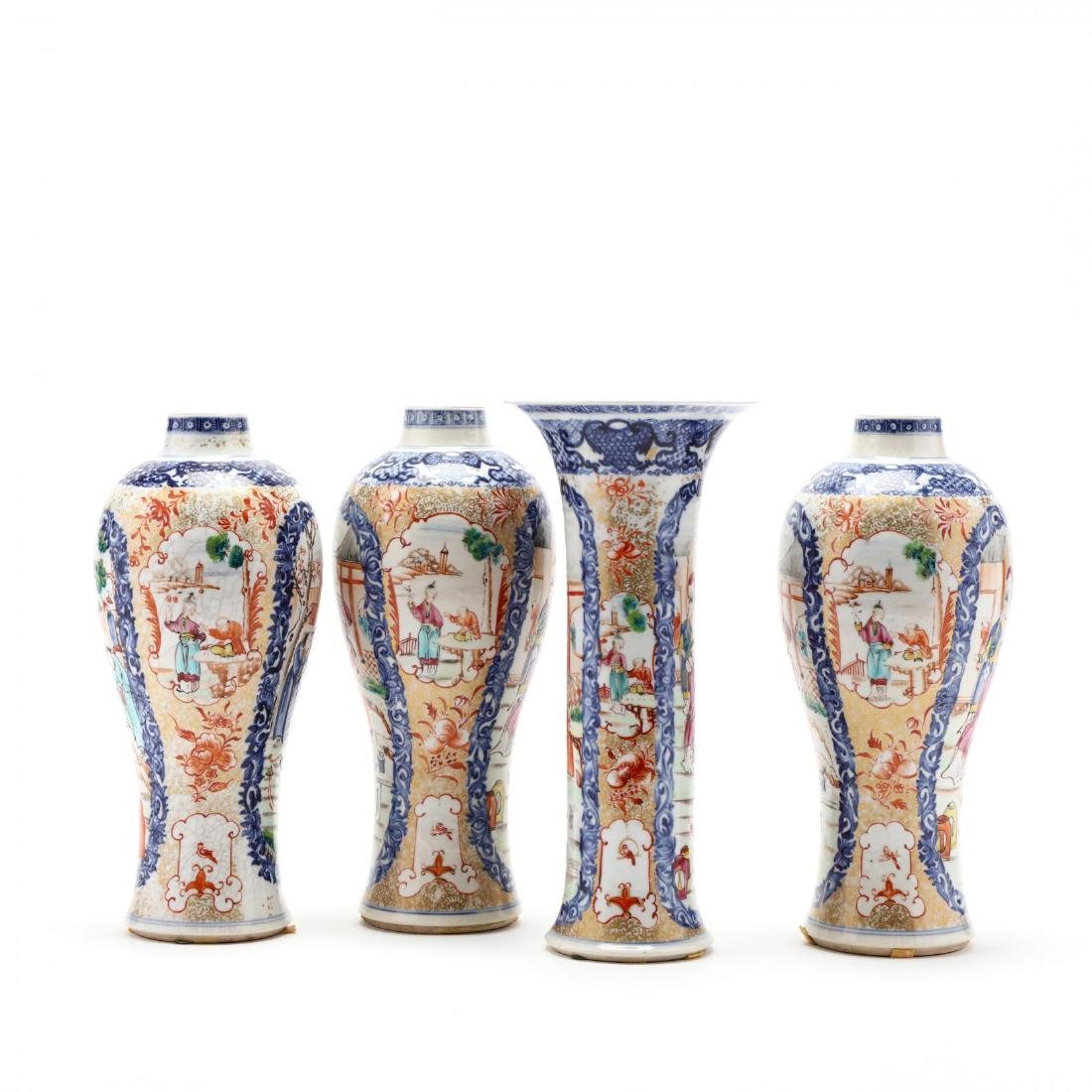 A Chinese Porcelain Mandarin Garniture Set - 2