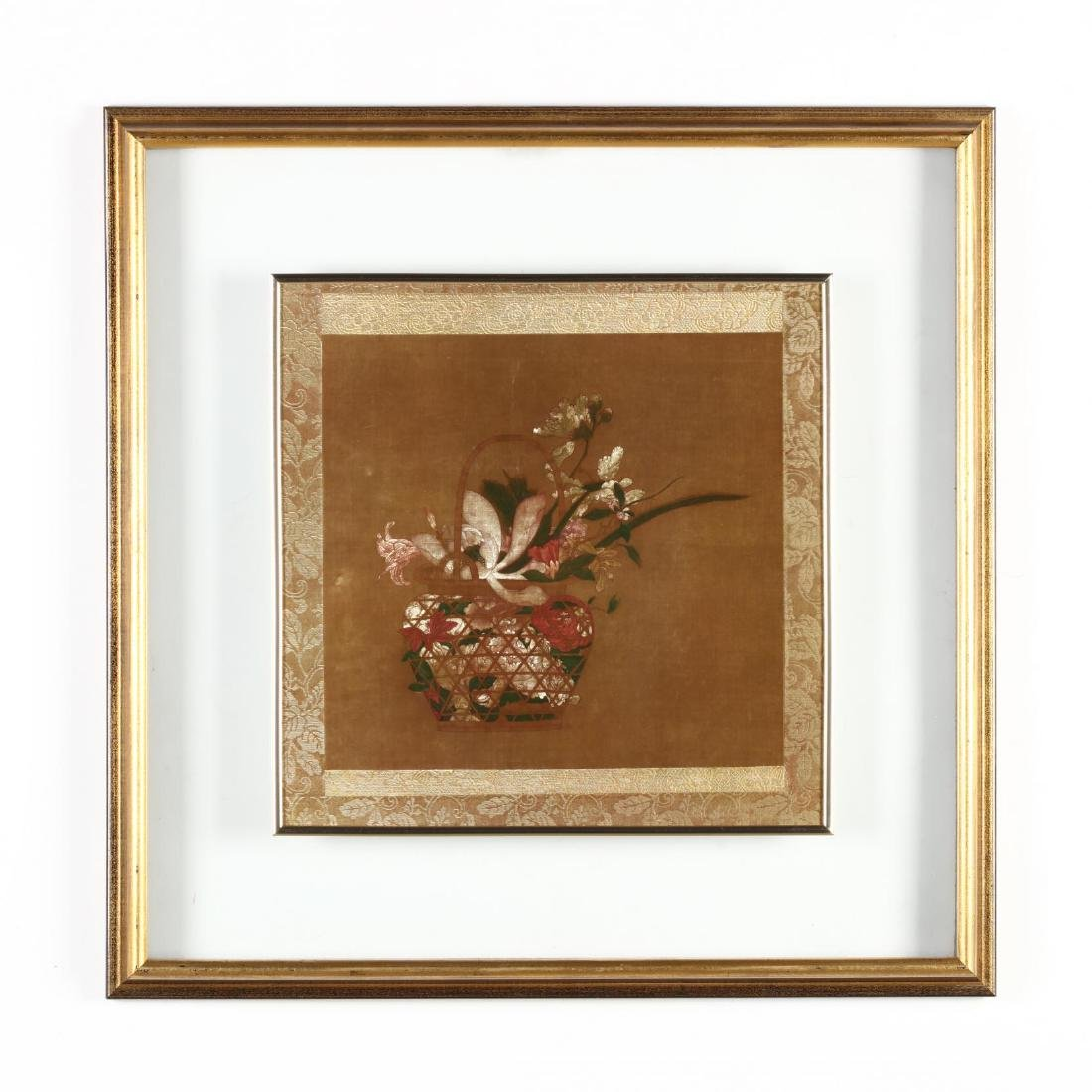 Decorative Asian Print of Textile in Unusual Frame