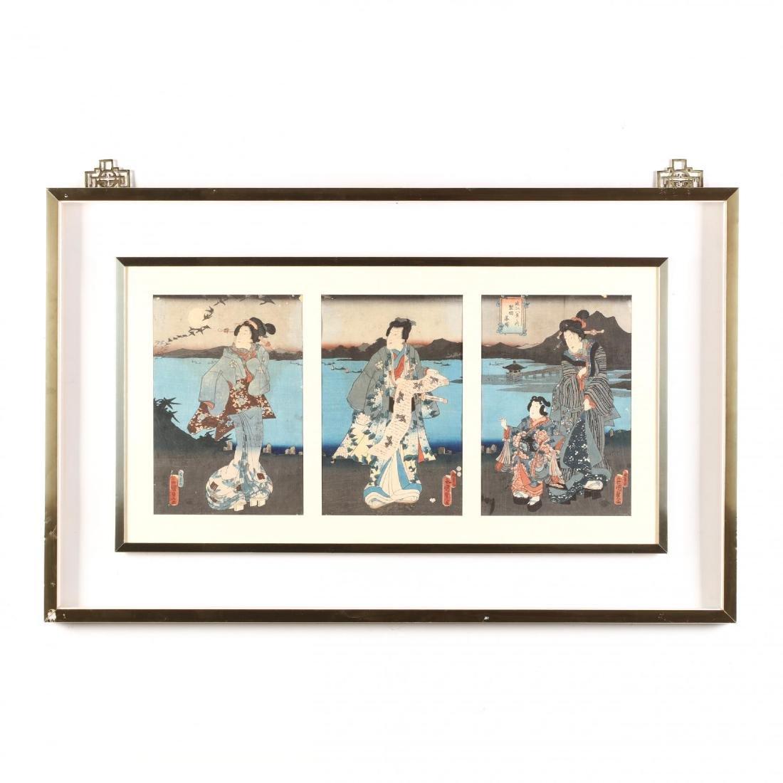 A Japanese Woodblock Print Triptych by Utagawa Kunisada
