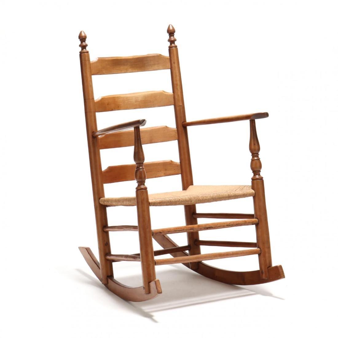 Antique American Ladderback Rocking Chair