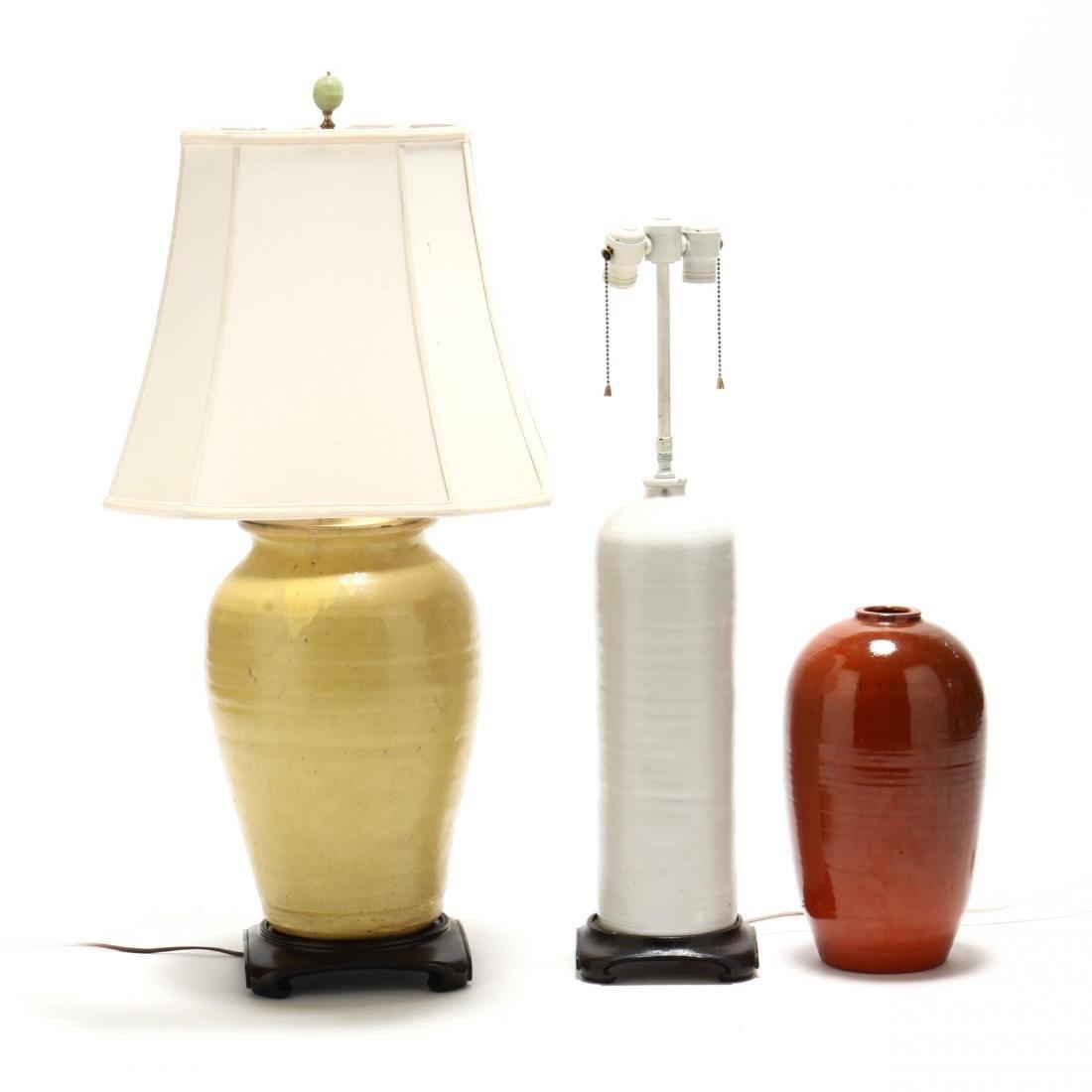 Three Pottery Lamp Bases