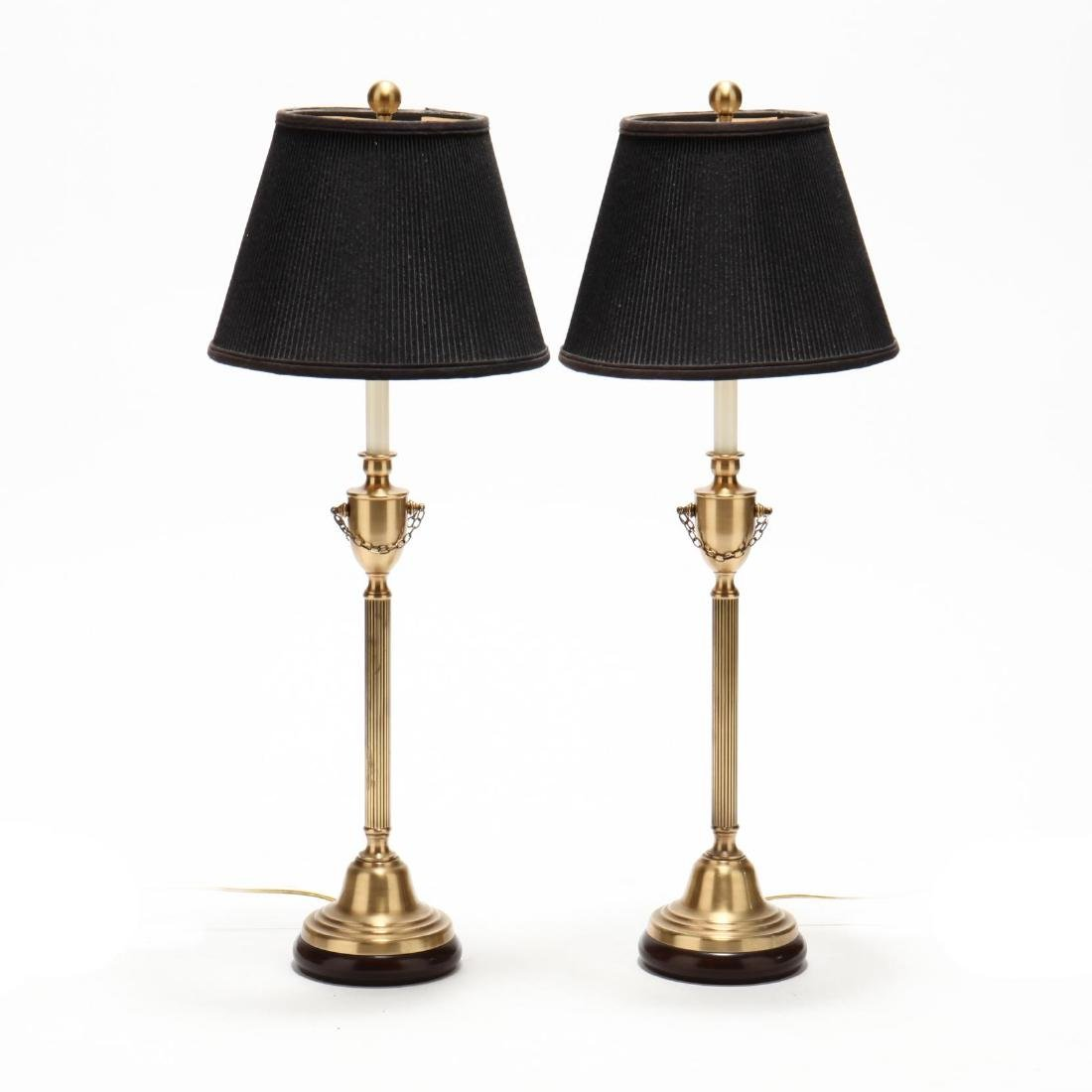 Pair of Neoclassical Style Brass Table Lamps