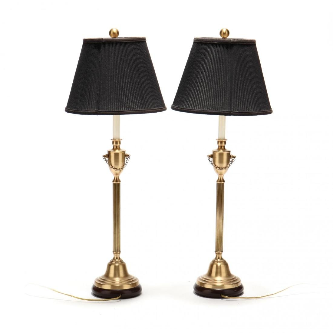 Pair of Neoclassical Style Brass Table Lamps - 2