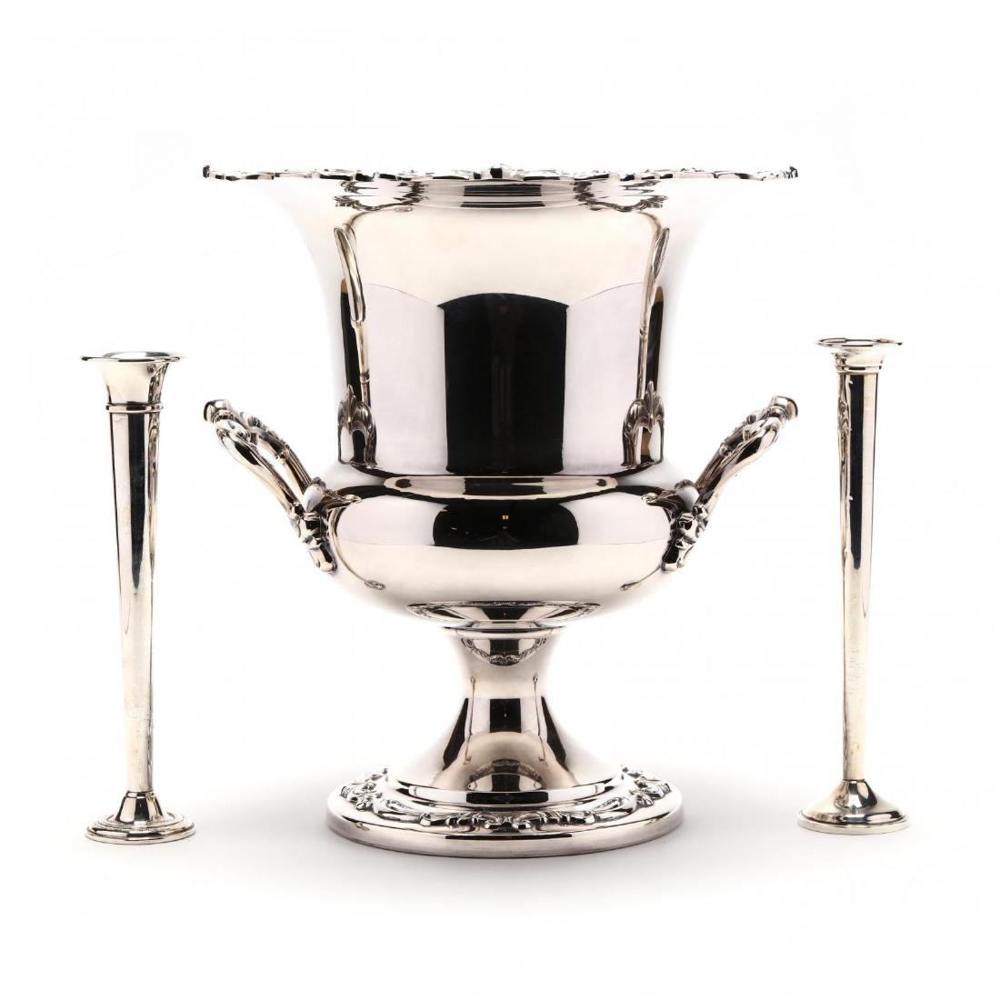 A Silverplate Wine Cooler and a Pair of Sterling Silver
