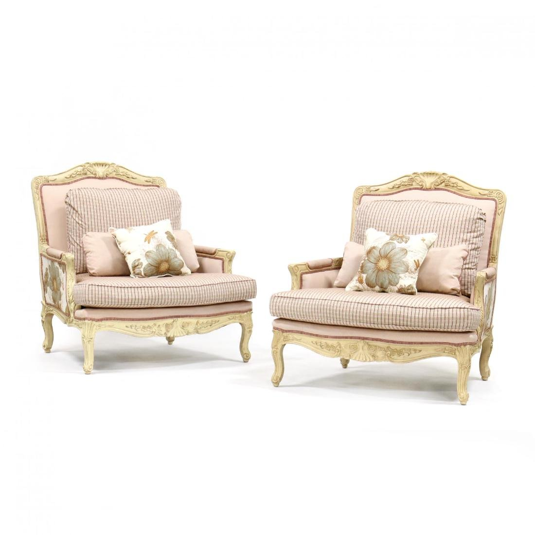 Pair of French Provincial Style Oversized Bergeres