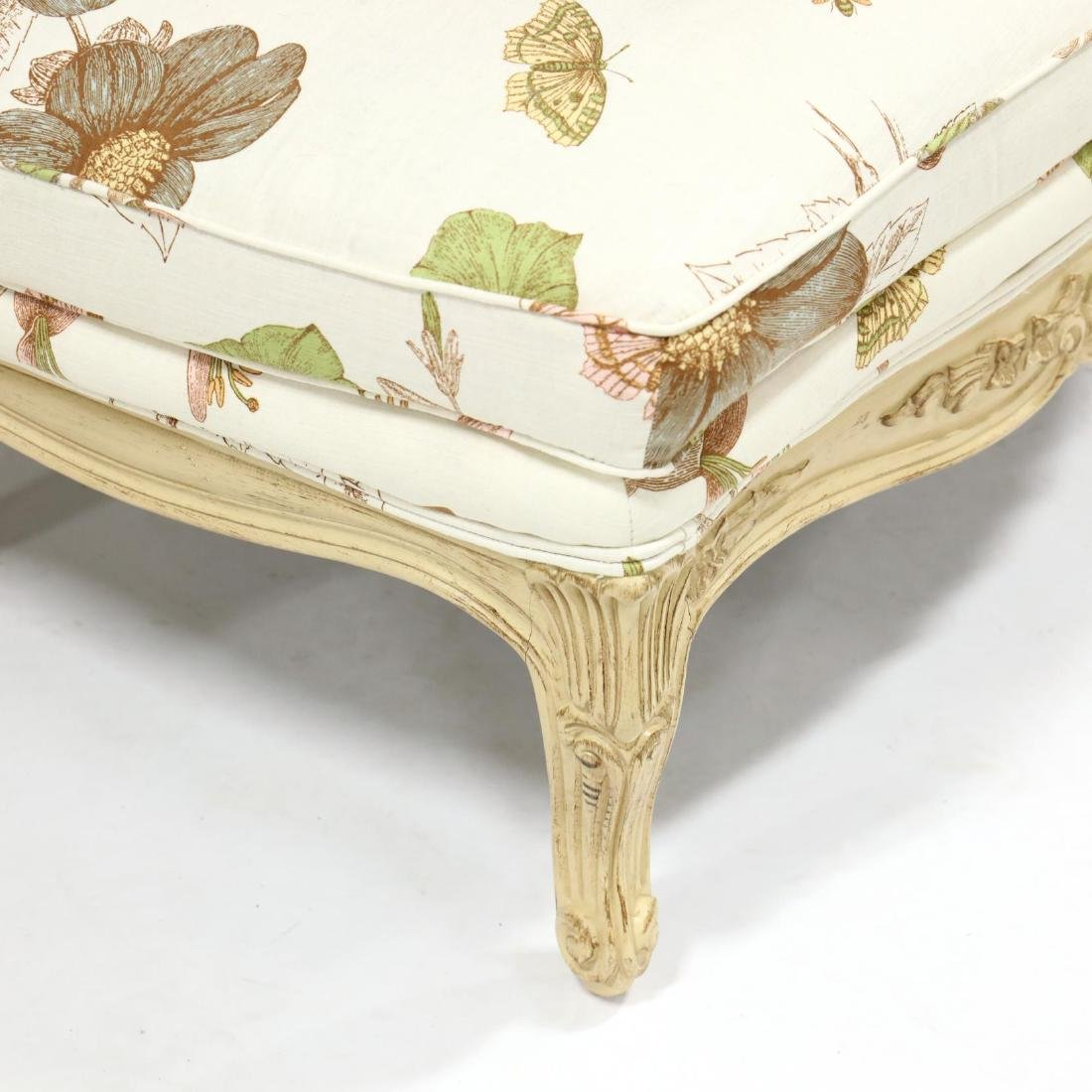 French Provincial Style Carved and Painted Ottoman - 2