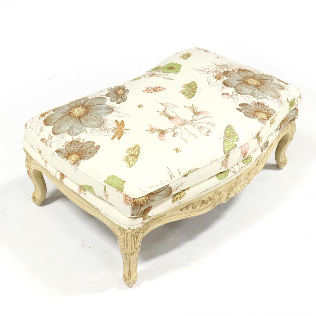 French Provincial Style Carved and Painted Ottoman - 3