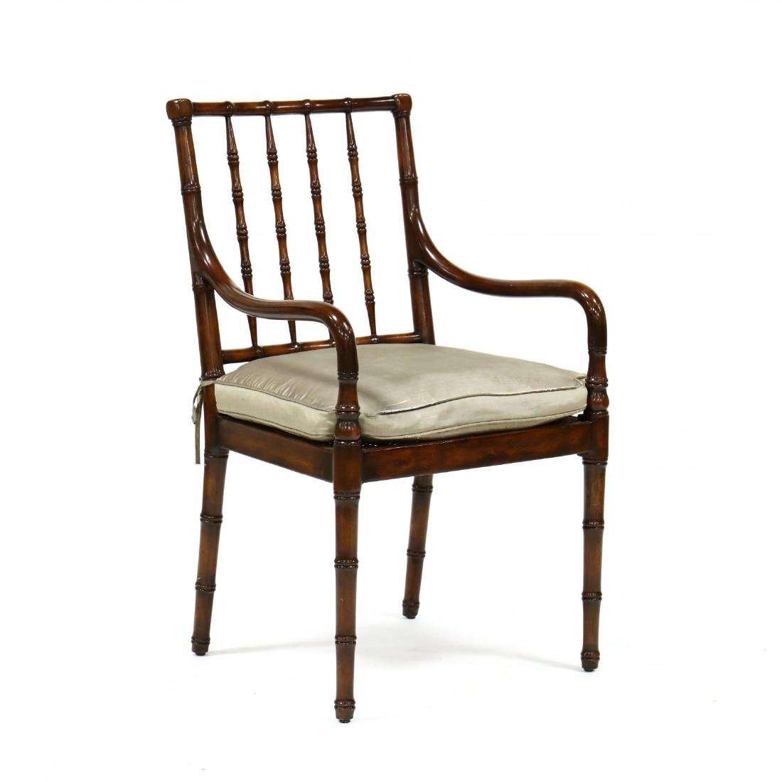 A Contemporary Faux Bamboo Carved Arm Chair