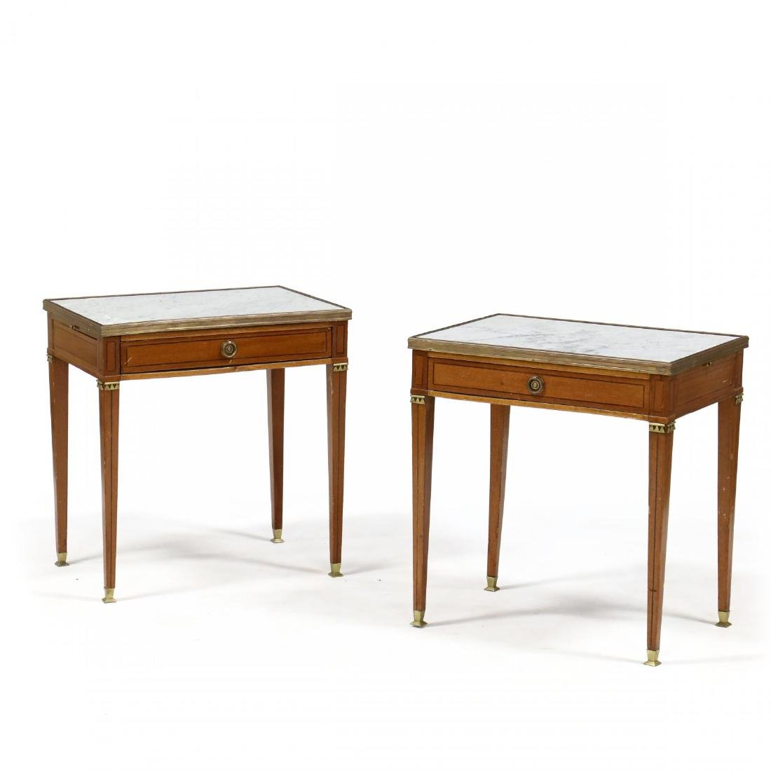 Pair of Directoire Style Marble Top Inlaid Stands