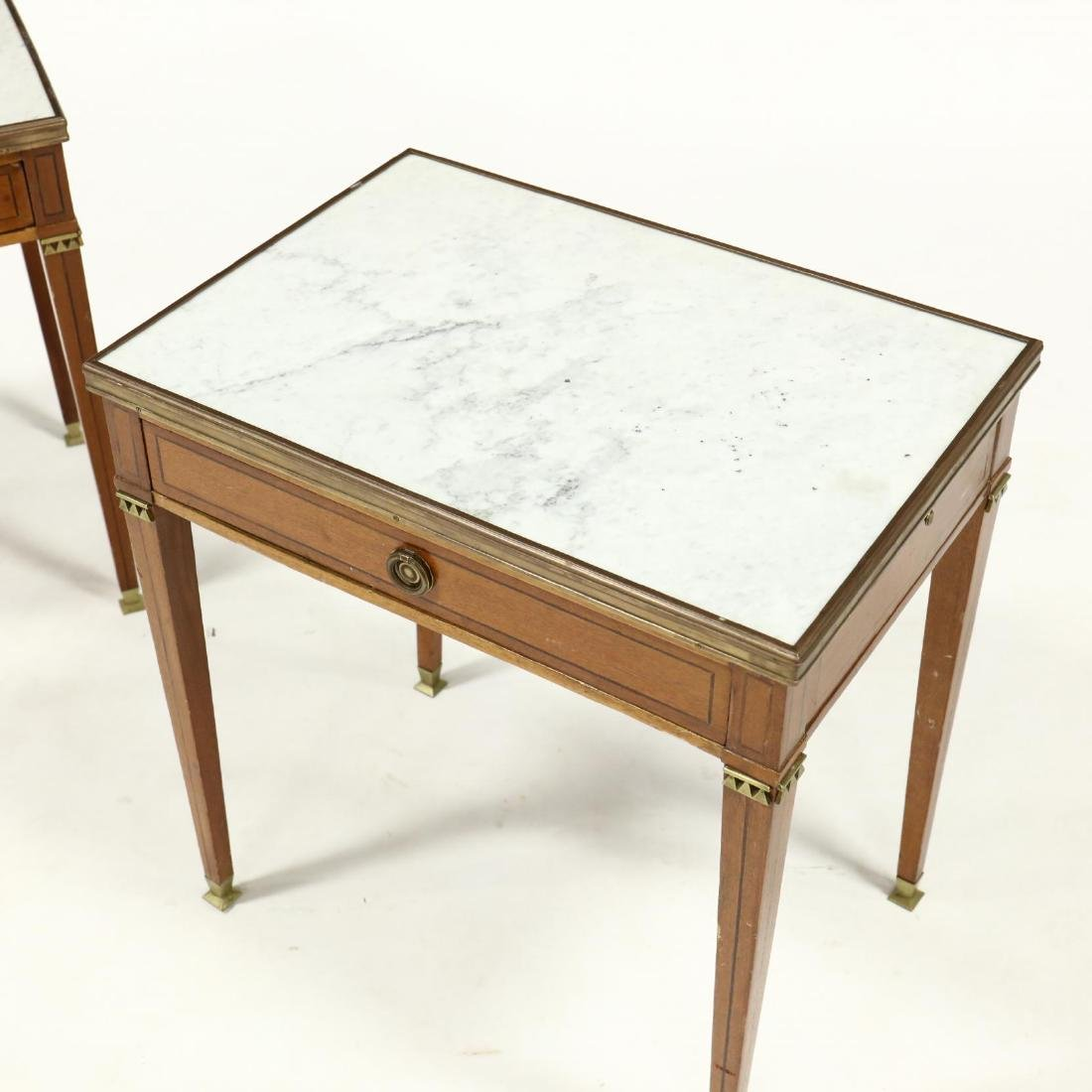 Pair of Directoire Style Marble Top Inlaid Stands - 2