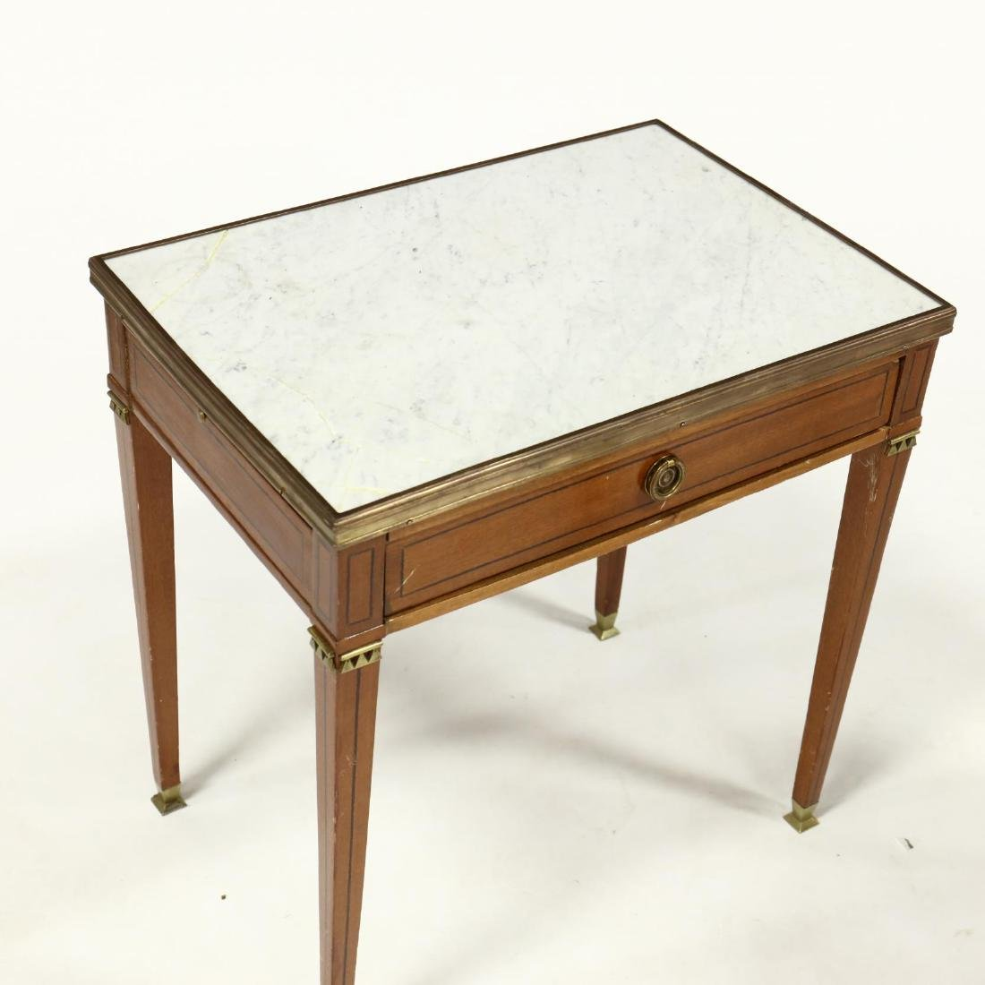 Pair of Directoire Style Marble Top Inlaid Stands - 3