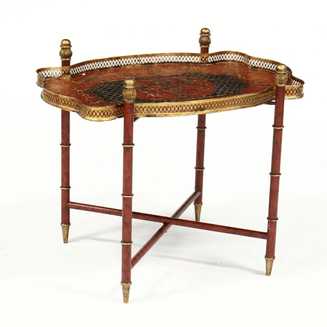 Chinoiserie Tole Tray on Stand