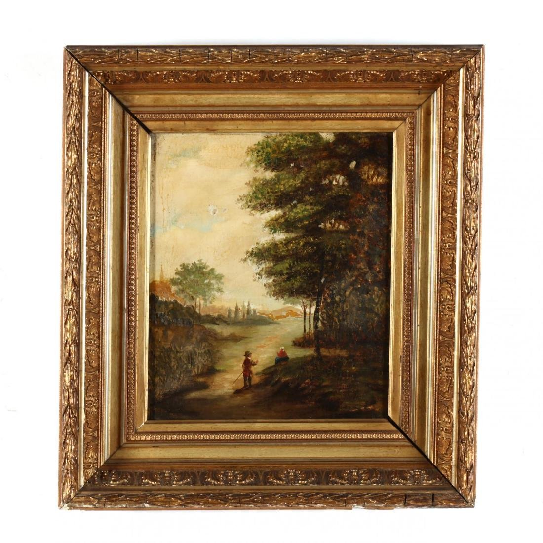 Antique Continental School Landscape Painting with