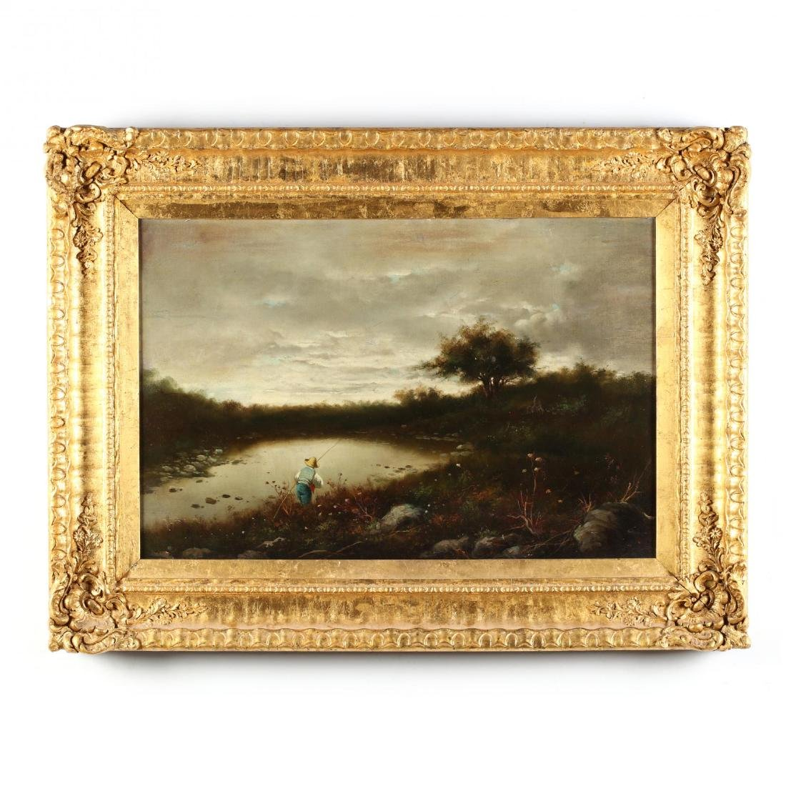 An Antique English School Painting of a Young Fisherman
