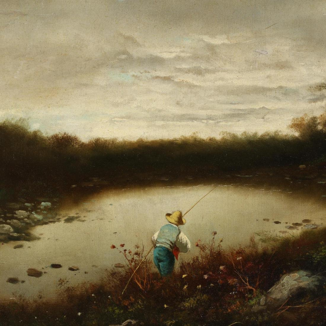 An Antique English School Painting of a Young Fisherman - 2