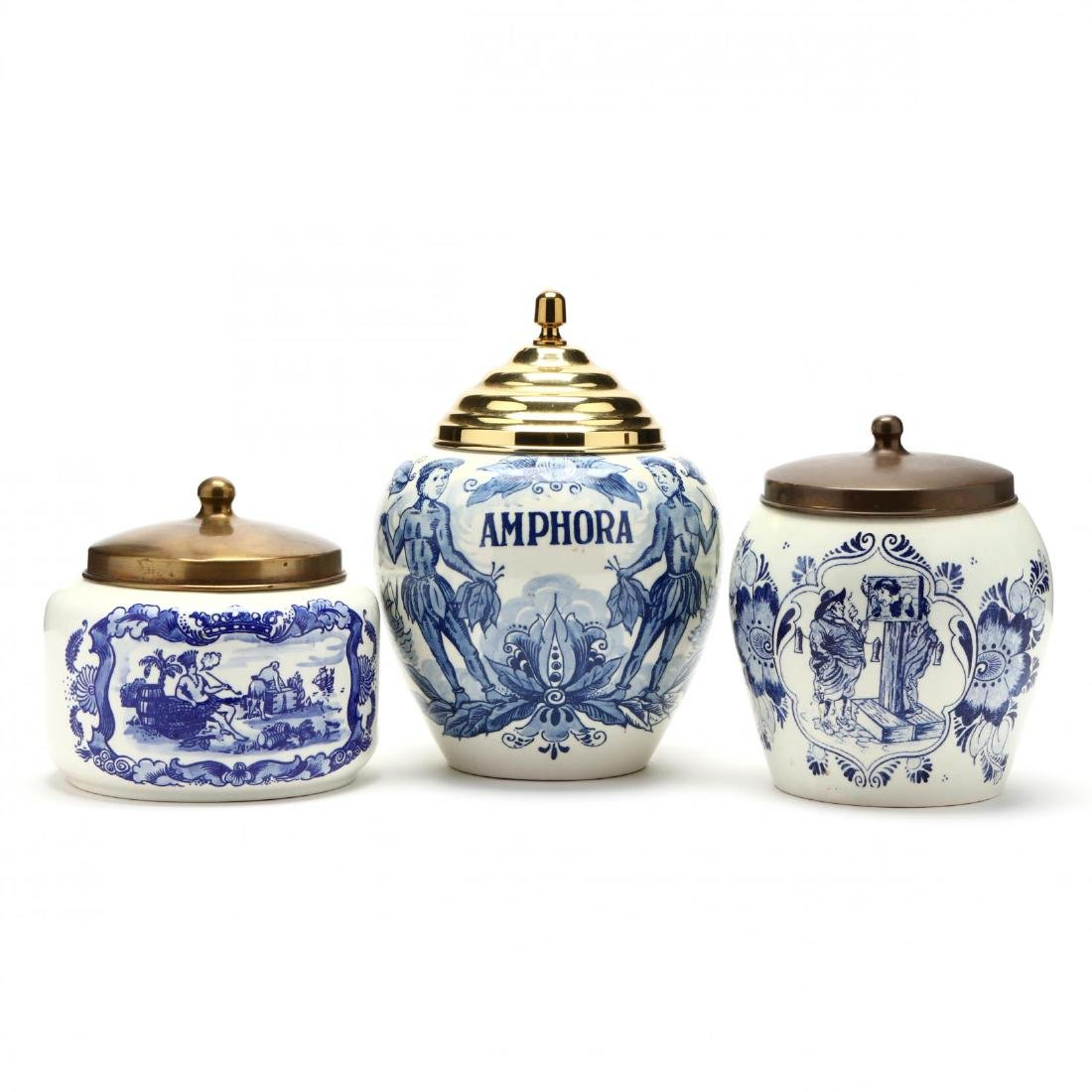 Three Blue and White Delft Jars