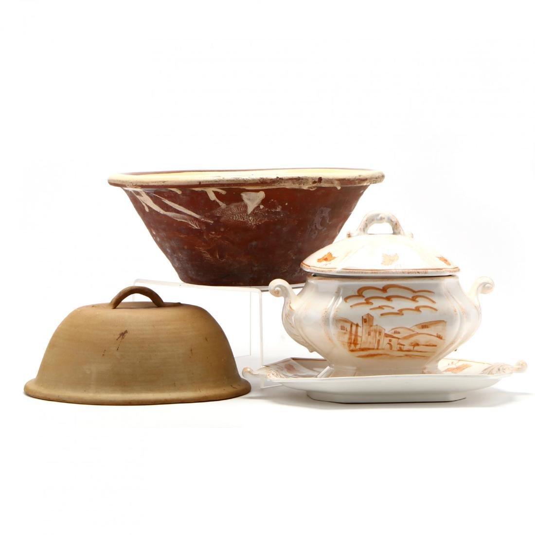 Three Italian Pottery Serving Pieces