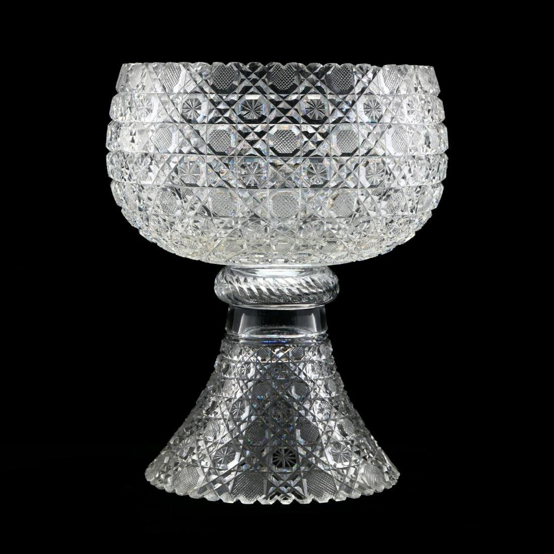 An American Brilliant Period Cut Glass Punch Bowl on
