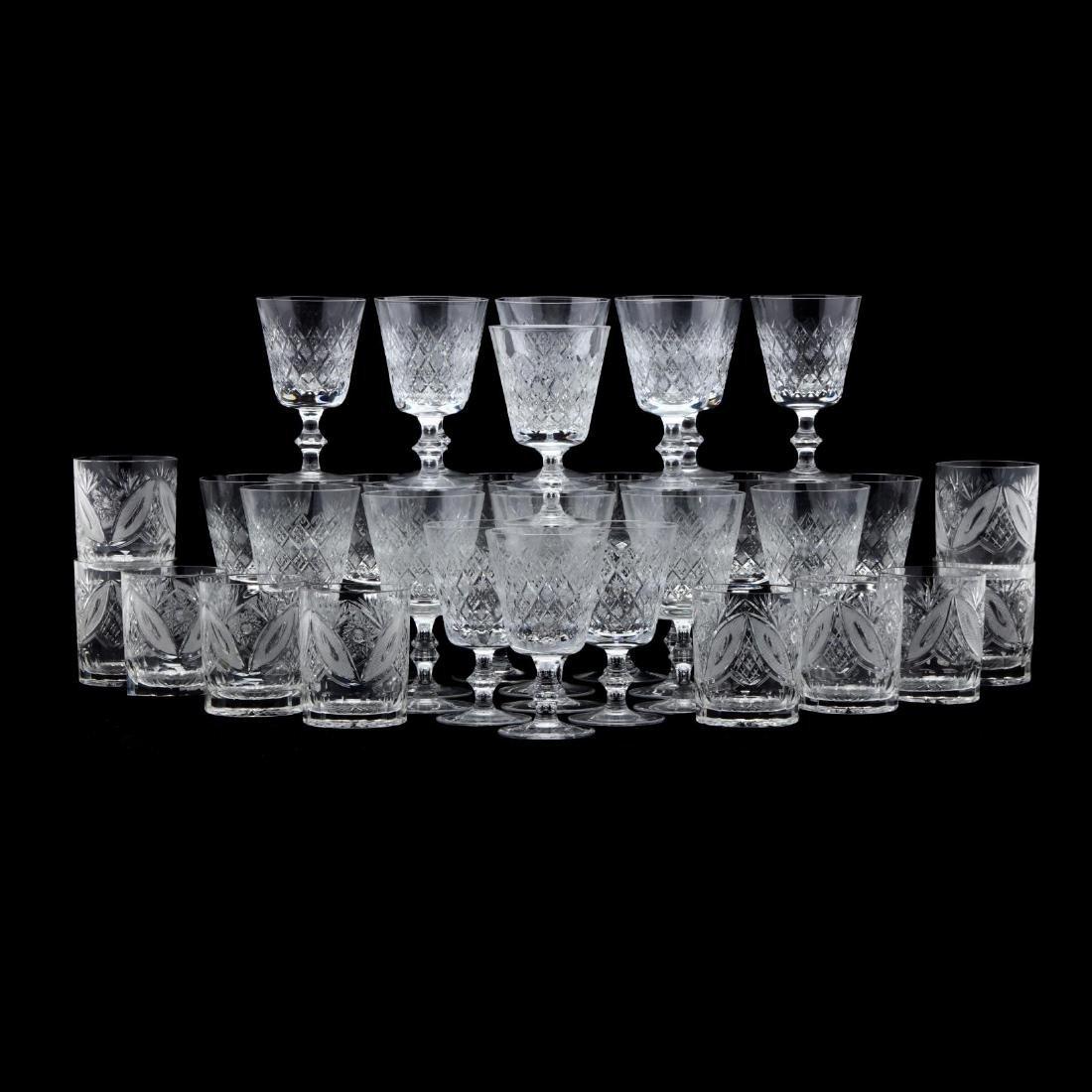 Large Group of Vintage Glass Stemware