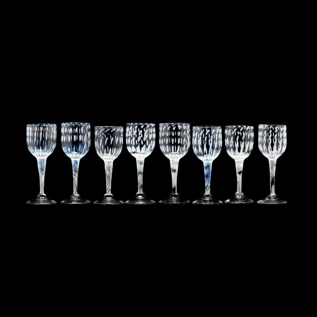 Cam Langley (AL), Set of Eight Art Glass Stems