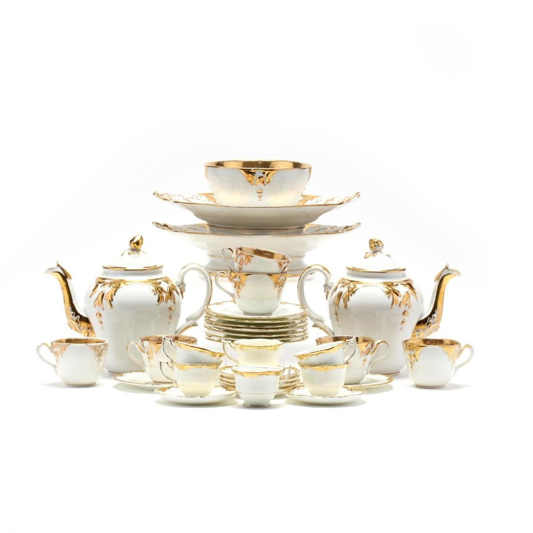 Assembled Gilt Decorated Tea Service