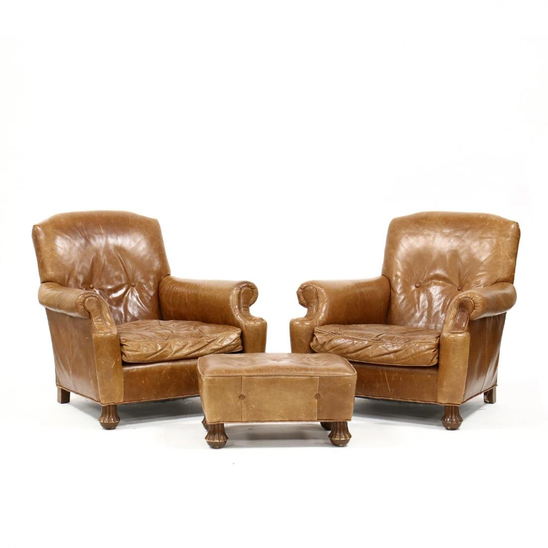 ABC Carpet & Home, Pair of Leather Club Chairs and