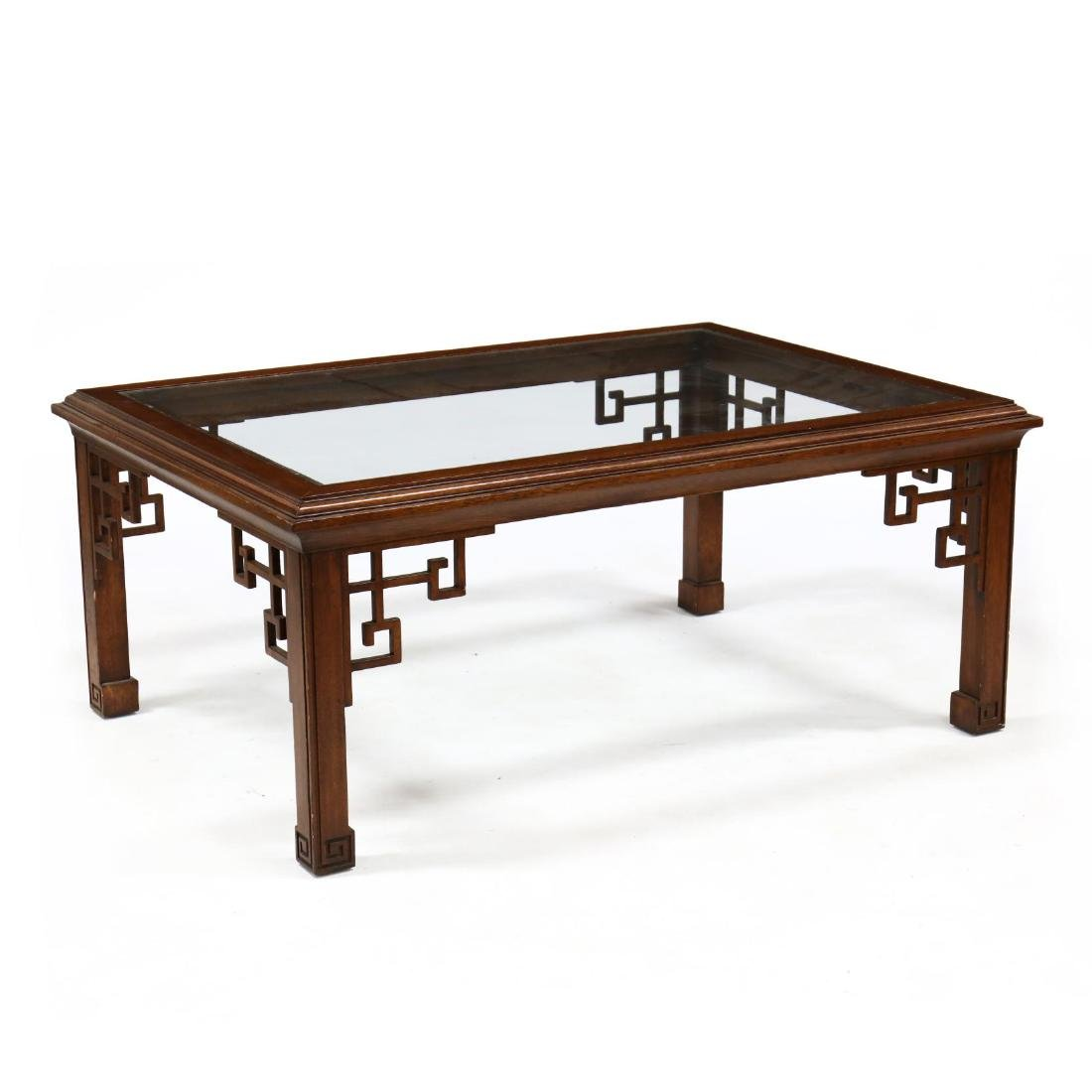 Chinese Style Carved Mahogany And Glass Coffee Table