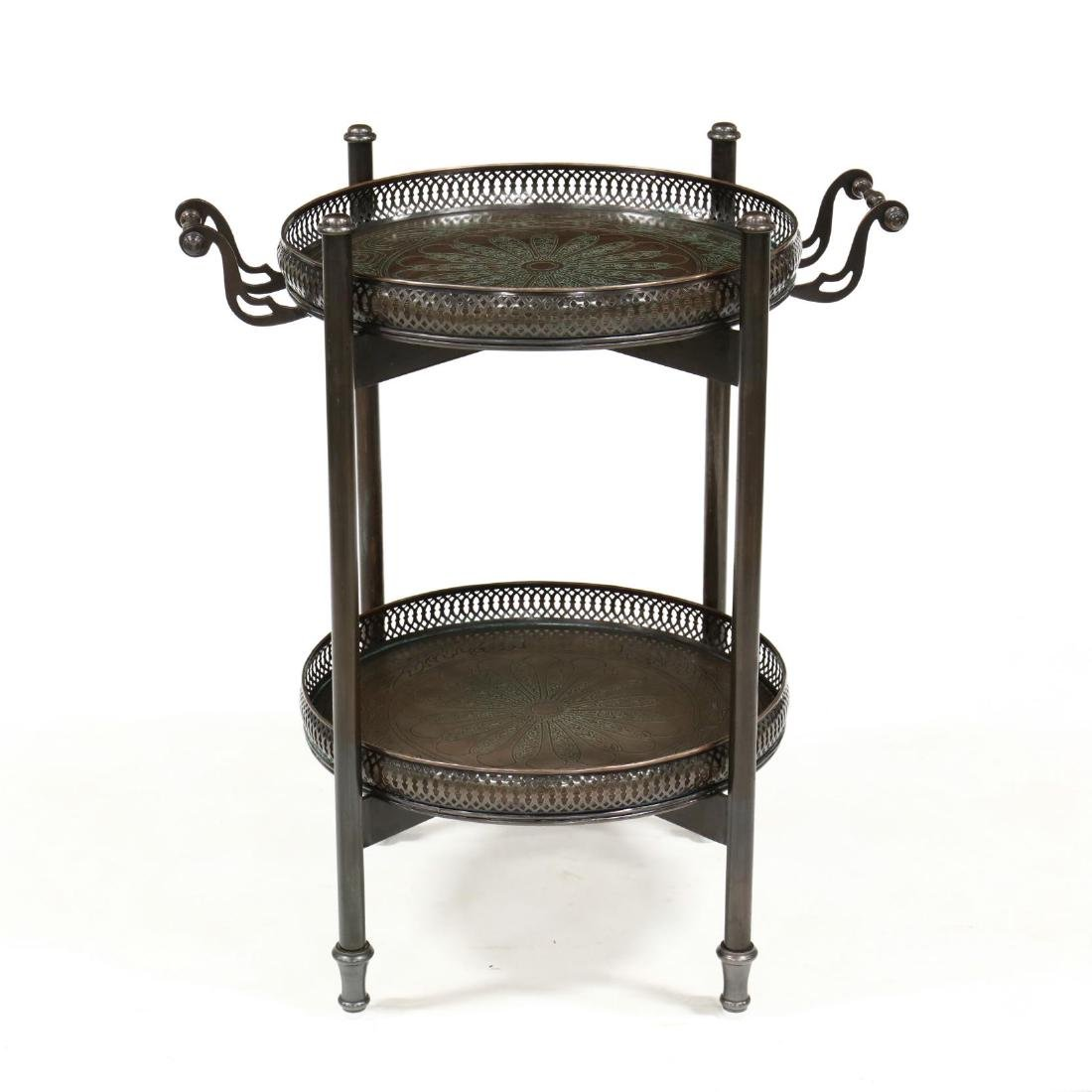 Contemporary Bronze Tone Serving Tray on Stand