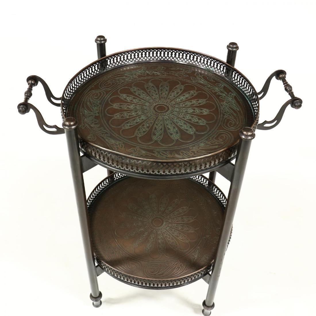 Contemporary Bronze Tone Serving Tray on Stand - 2