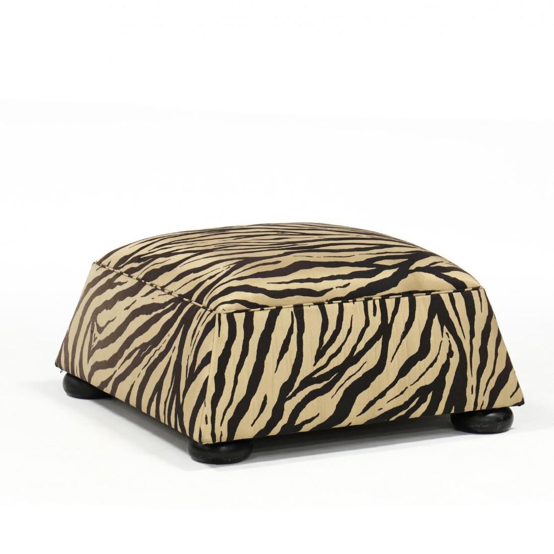 Designer Silk Upholstered Ottoman