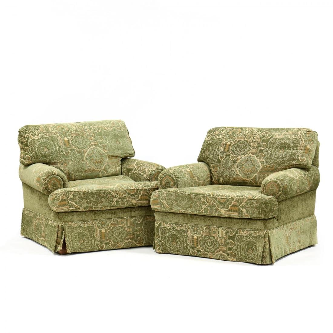 Pair of Contemporary Over Upholstered Club Chairs