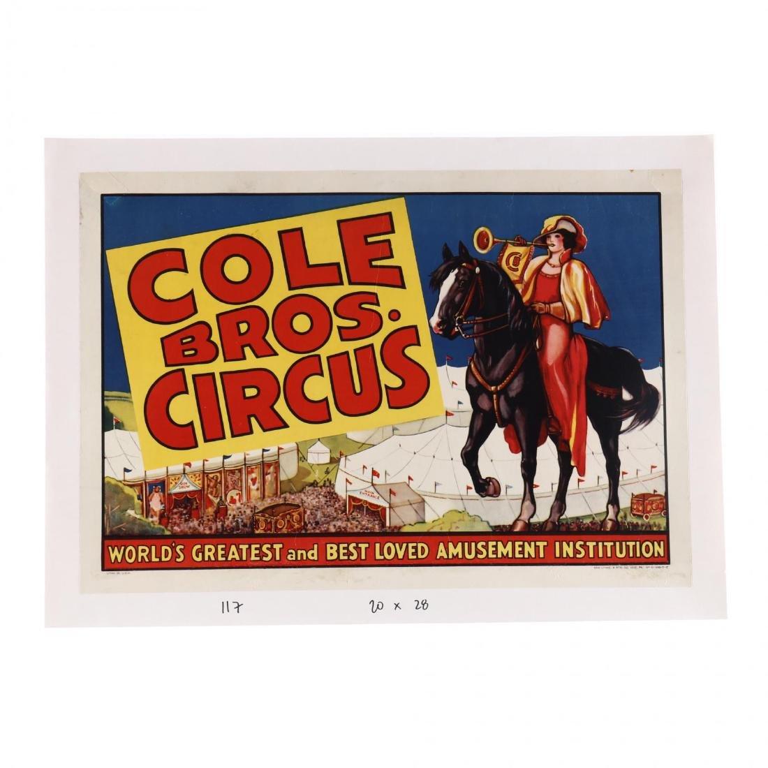 Cole Bros Circus, Woman on Horseback, Vintage Poster