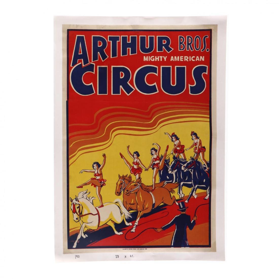"Arthur Bros ""Mighty American"" Circus, Vintage Poster"