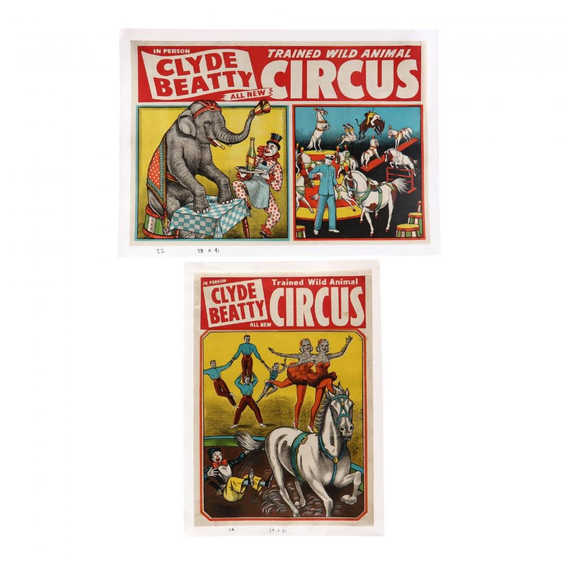 "Two Clyde Beatty ""Trained Wild Animal"" Vintage Circus"