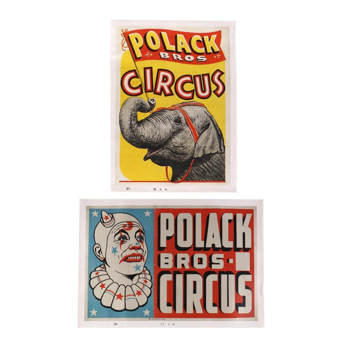 Two Polack Bros Vintage Circus Posters, Elephant and