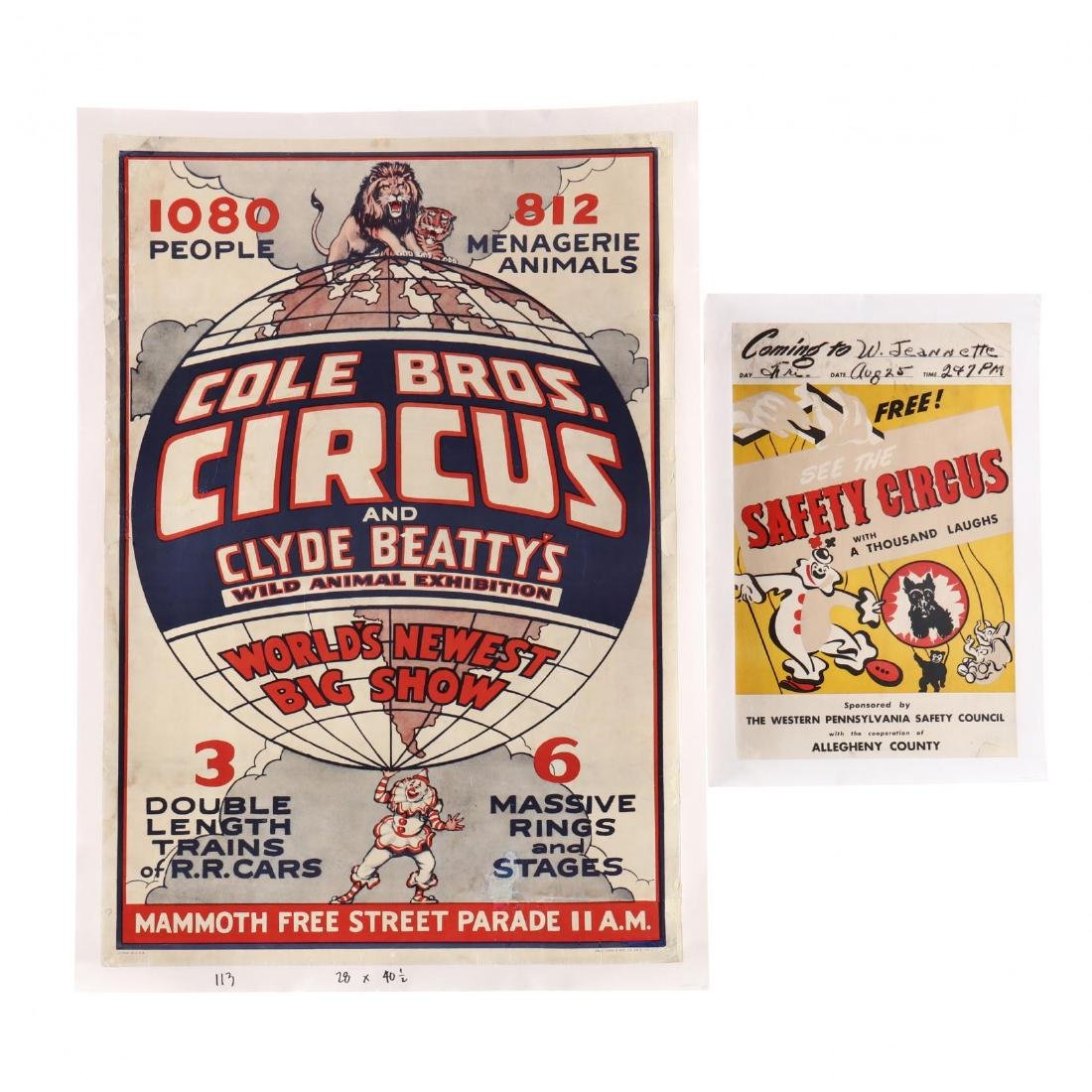 Two Vintage Circus Posters, Featuring Various Animals
