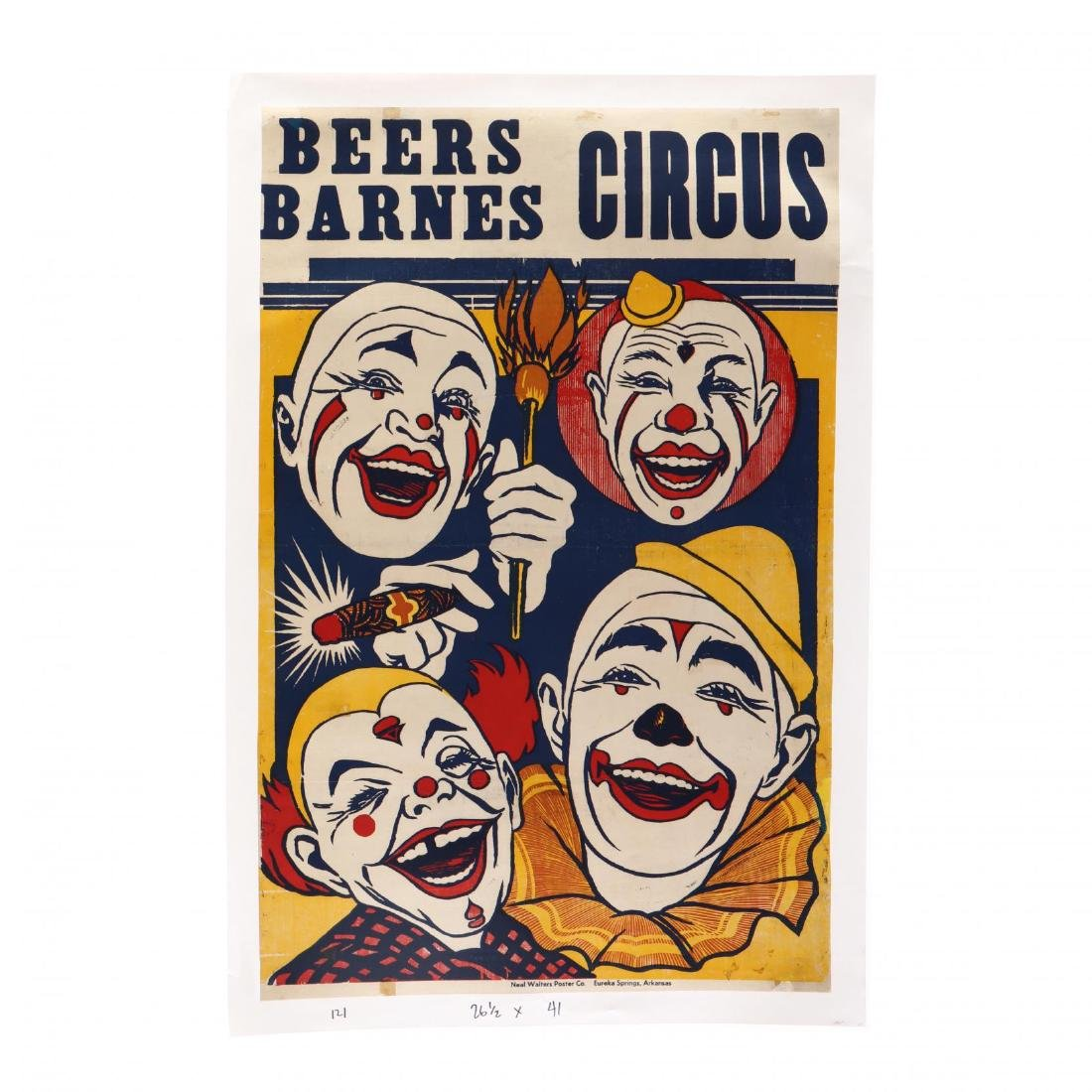 Beers-Barnes Circus, Vintage Poster, Four Clowns