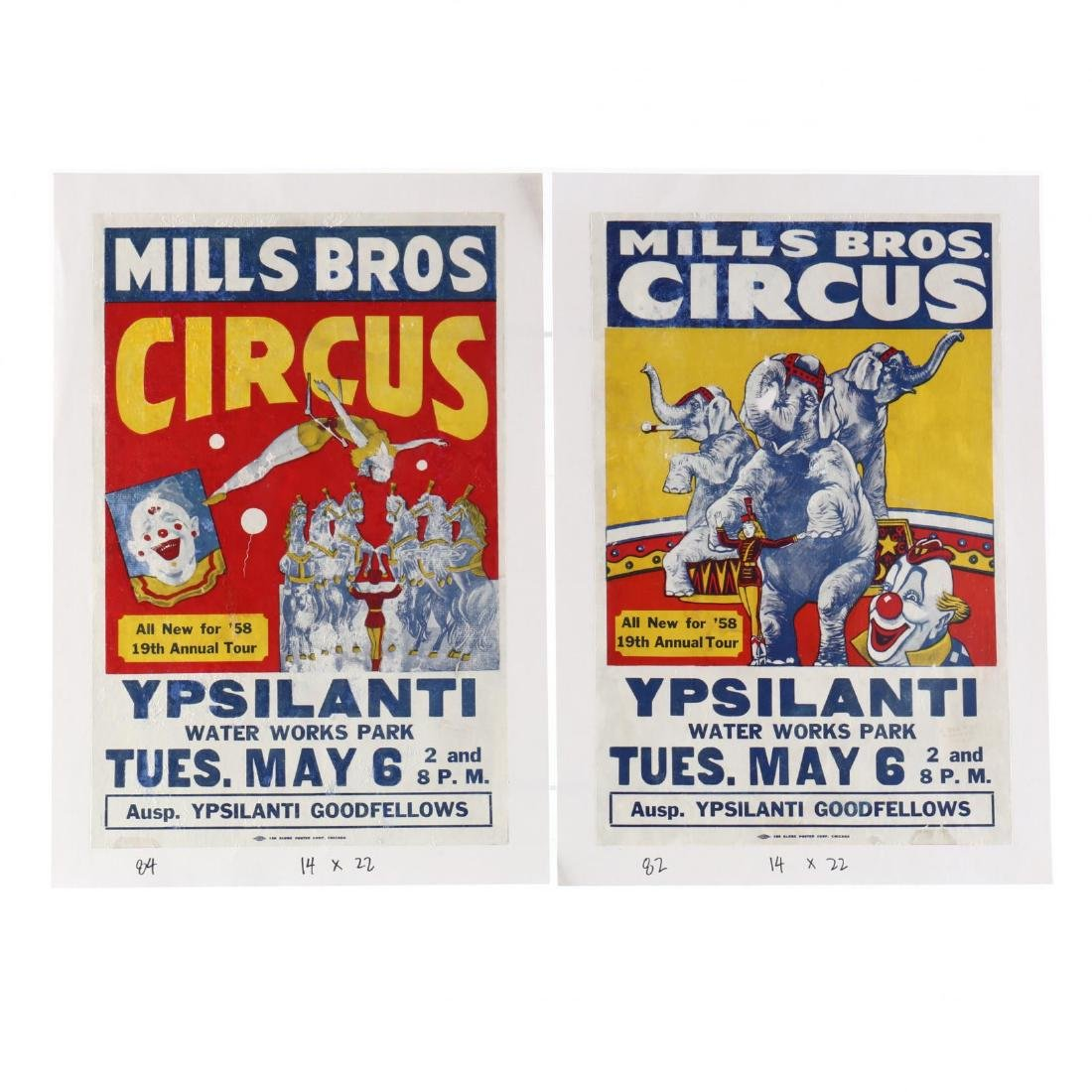 Pair of Mill Bros Vintage Circus Posters