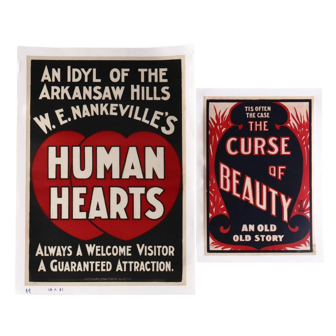 Two Early Theater Posters -  Human Hearts  and  The