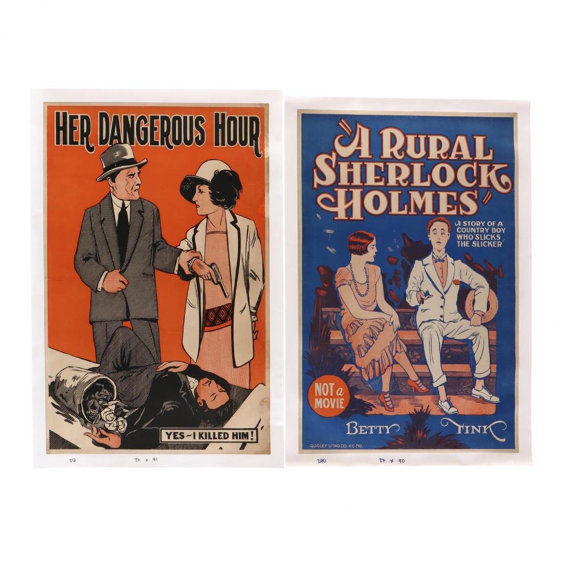 Two Vintage Theater Posters -  Her Darkest Hour  and  A