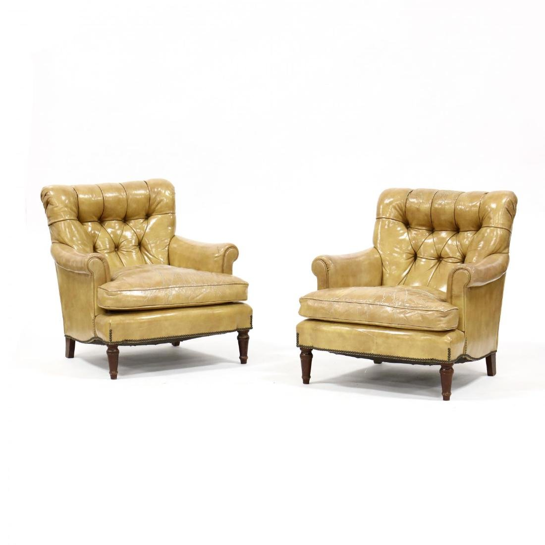 Pair of Vintage Leather Upholstered Club Chairs
