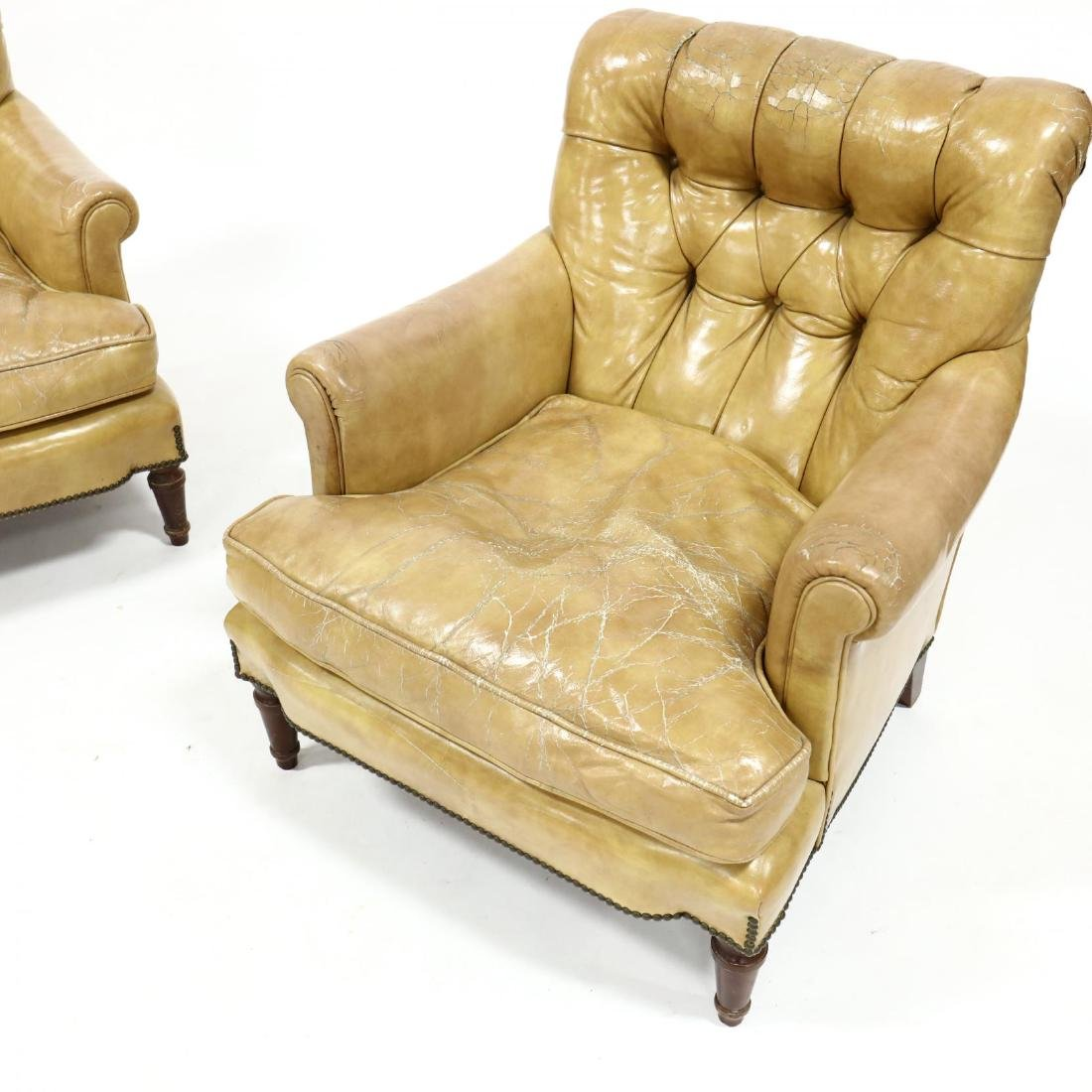 Pair of Vintage Leather Upholstered Club Chairs - 2