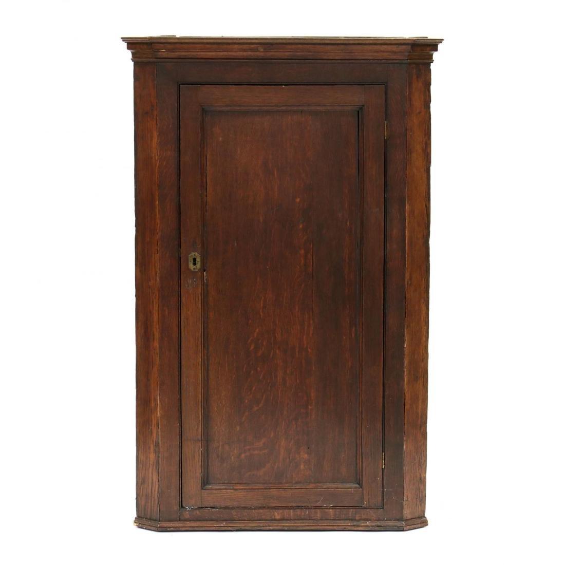 Edwardian Oak Hanging Corner Cabinet