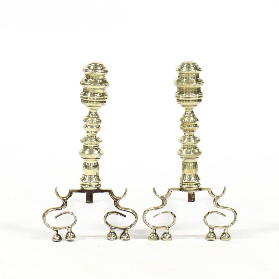 Pair of Chippendale Brass Andirons