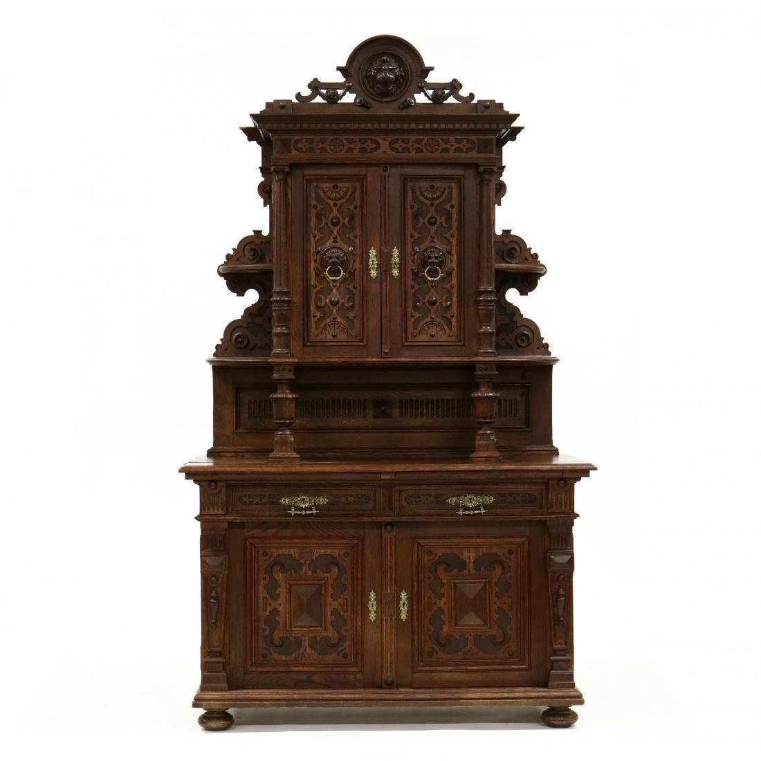 Antique German Carved Oak Court Cupboard