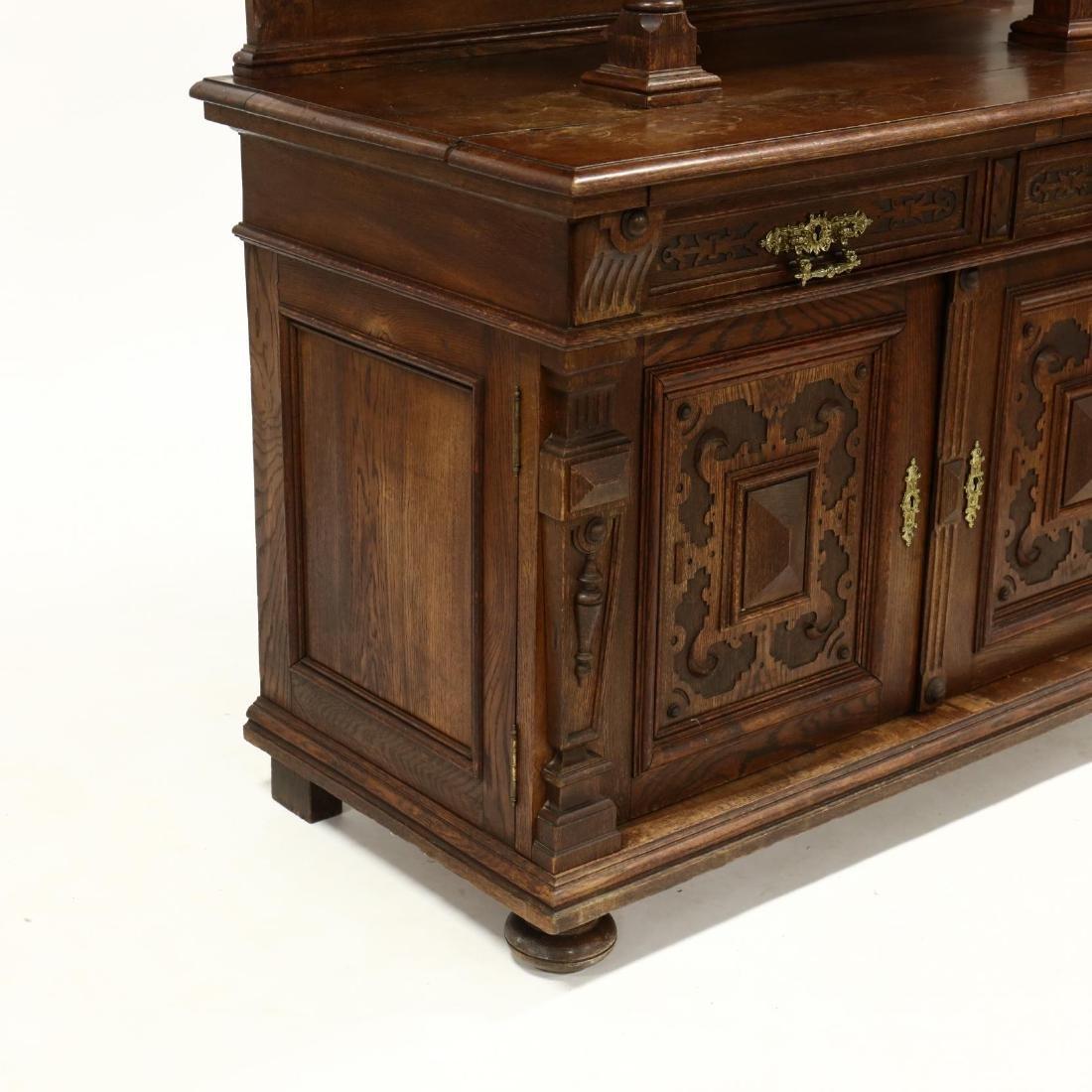 Antique German Carved Oak Court Cupboard - 2