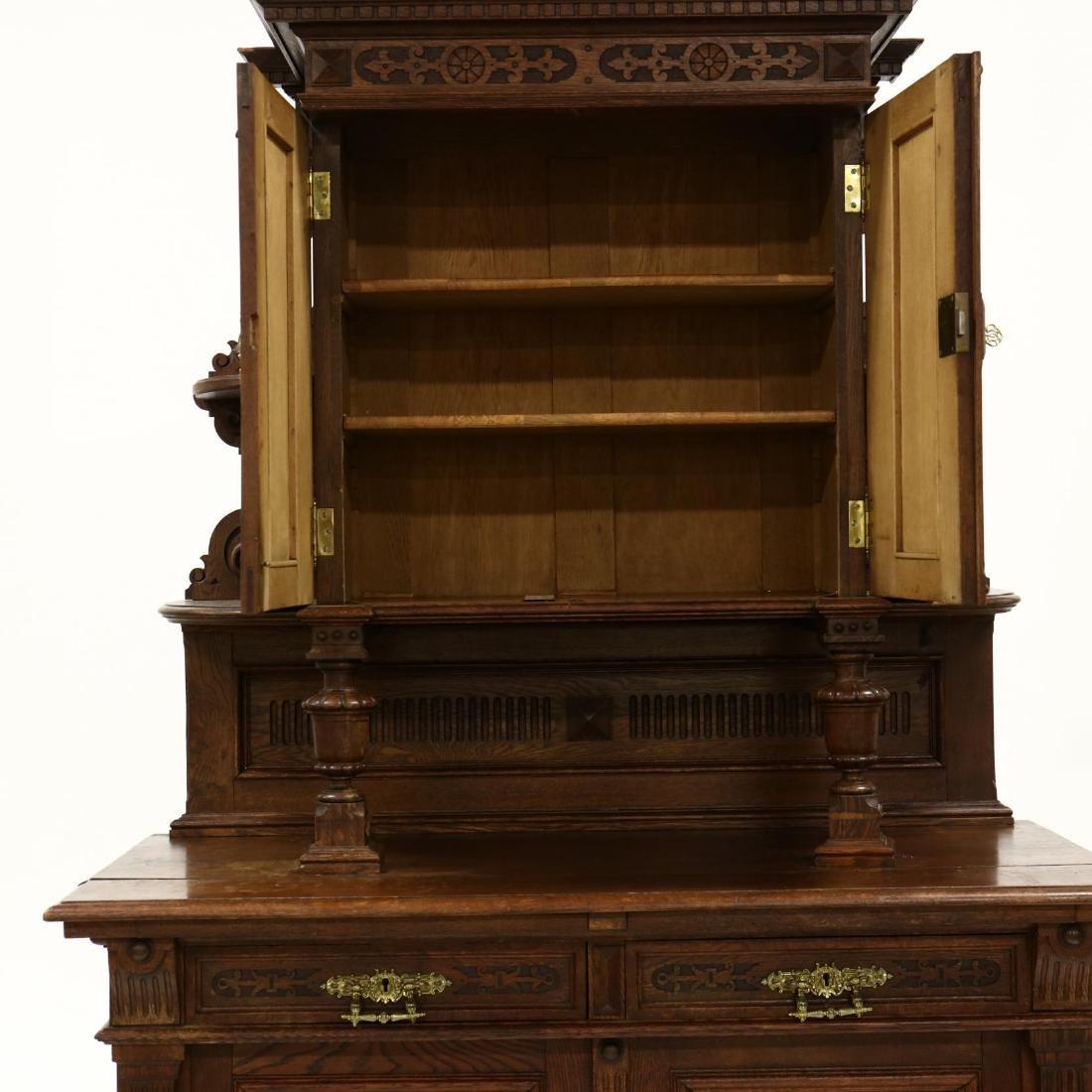 Antique German Carved Oak Court Cupboard - 4