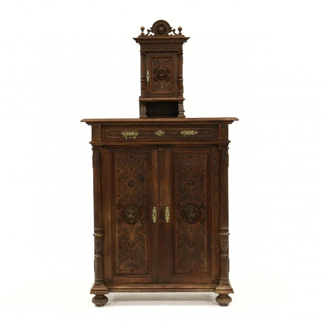 Antique German Carved Oak Cabinet