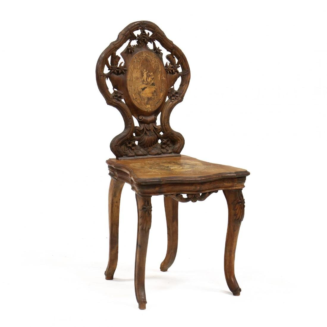 Black Forest Carved and Inlaid Chair