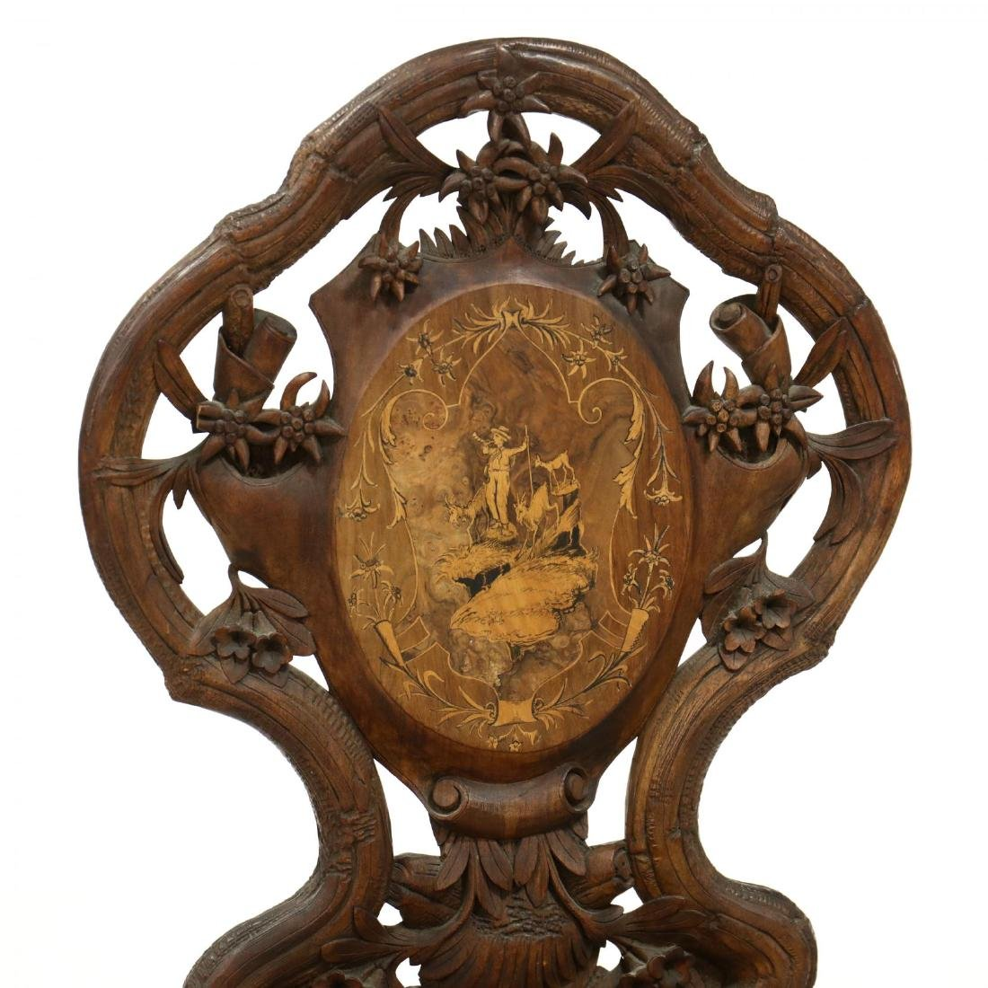 Black Forest Carved and Inlaid Chair - 2